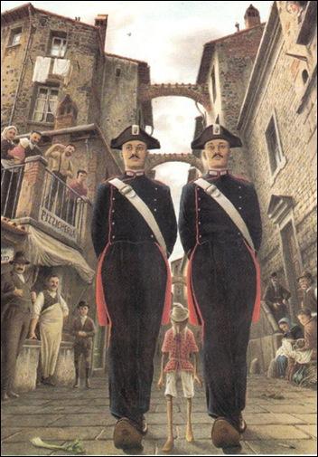 pinocchio con due gendarmi disegnato da Roberto Innocenti
