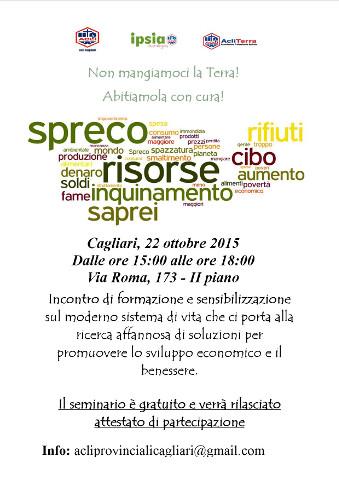 Locandina di un seminario sul cibo a Cagliari