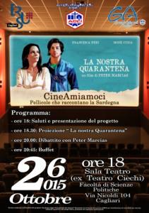 Locandina del Cineforum a Cagliari con Peter Marcias e il suo film La nostra Quarantena