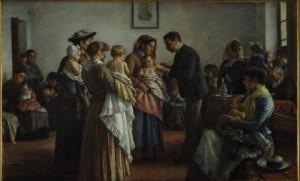 ritratto di un medico che vaccina bimbi in braccio alle madri mentre altri pazienti attendono seduti