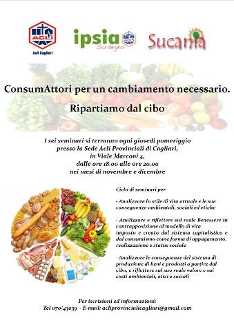 locandina di un ciclo di incontri sull'alimentazione organizzati a Cagliari dalle Acli