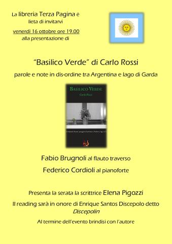 locandina della presentazione della silloge Basilico verde di carlo Rossi a Villafranca di Verona