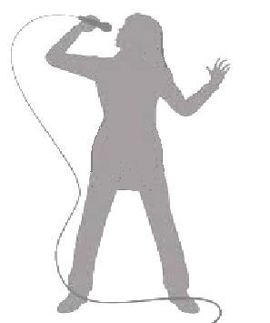 sagoma di una donna che canta al microfono