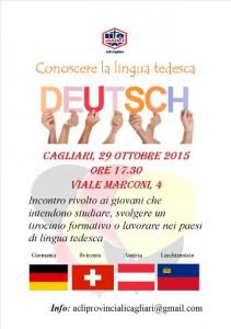 locandina dell'incontro per conoscere la lingua tedesca a Cagliari