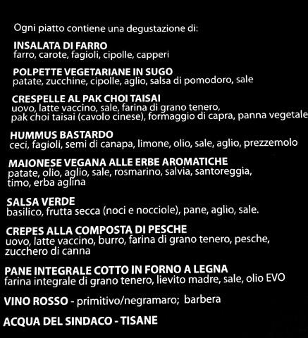 menu di una degustazione