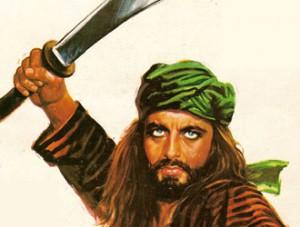 Sandokan con una sciabola in mano