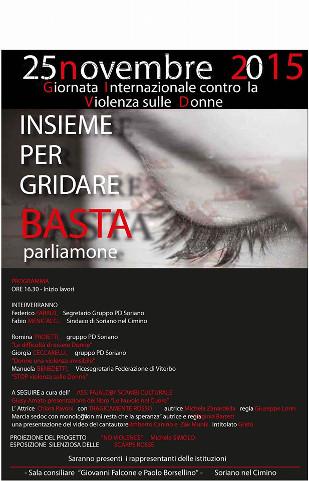 locandina di un incontro a Soriano nel Cimino per la lotta alla violenza sulle donne