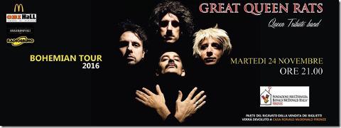 locandina di un concerto a Firenze dei Great Queen Rats