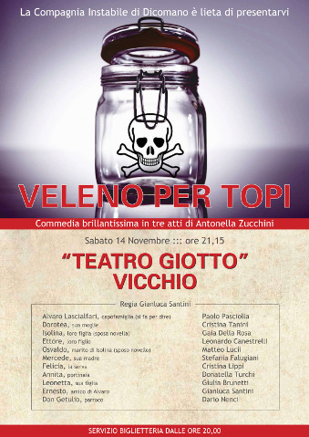 Locandina della commedia Veleno per topi a Vicchio