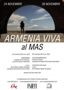 locandina di un ciclo di incontri a Milano dal titolo Armenia viva