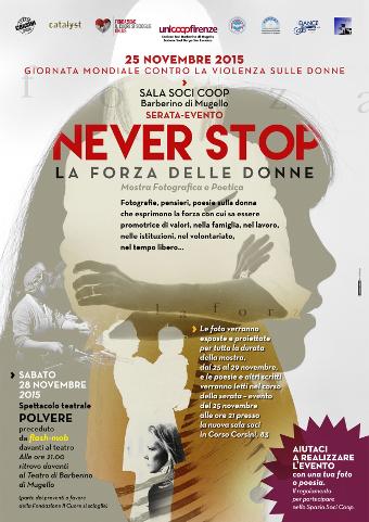 locandina della serie di eventi Never stop - la forza delle donne a Barberino di Mugello