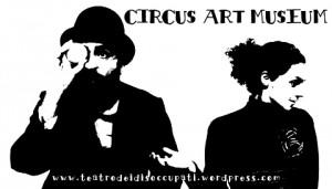 foto in bianco e nero di un uomo e una donna con sopra la scritta circus art museum