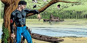 un personaggio di un fumetto poggiato a un ramo davanti a un fiume