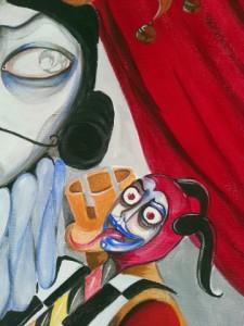 dipinto con un giullare accanto a un mezzo volto d'uomo