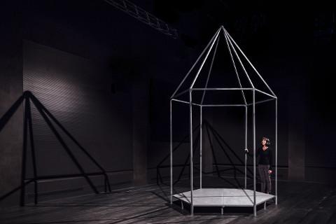 grande gabbia di metallo a forma di casetta con una donna accanto
