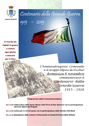 locandina di una manifestazione per il Centenario della Grande guerra a Vicchio