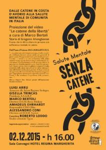 locandina del dibattito dal titolo Salute mentale Senza catene organizzato a Cagliari
