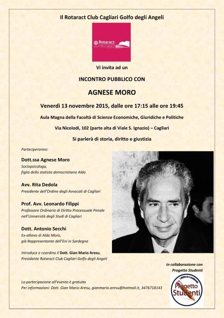 locandina di un incontro a Cagliari dedicato ad Aldo Moro