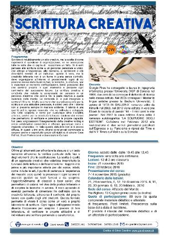 locandina di un corso di scrittura creativa a Cagliari