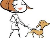 donna con cagnolino al guinzaglio