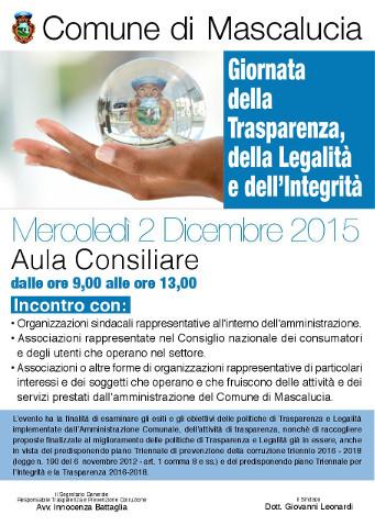 """A Mascalucia (CT) al via le """"Giornate della Trasparenza 2015"""""""