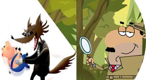 un lupo tiene in mano jun porcellino mentre un investigatore lo segue