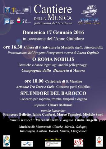 locandina del ciclo di eventi musicali Armonie fra cielo e terra a Lucca
