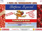 locandina della tombolata per la Befana 2016 organizzata dalla Prometeo AITF Onlus