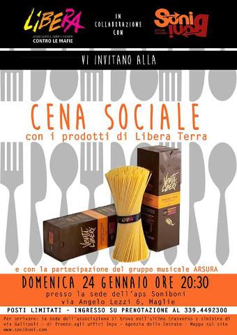 Cena sociale a Maglie (LE) con Libera e SoniBoni Officine Culturali