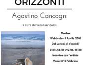 locandina della mostra Orizzonti di Agostino Cancogni a Viareggio