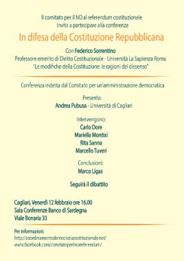 Referendum costituzionale: incontro a Cagliari sulle ragioni del NO