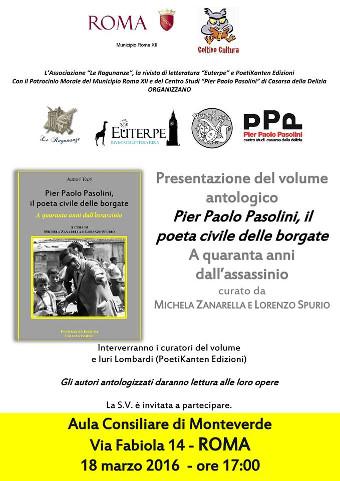 """A Roma si presenta """"Pier Paolo Pasolini, il poeta civile delle borgate"""""""