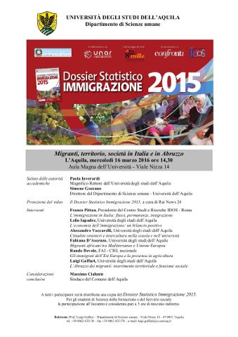 convegno a L'Aquila su migranti, territorio e società