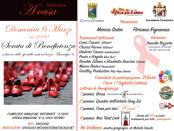 locandina di una serata di beneficienza per lo sportello antiviolenza di Roma VI