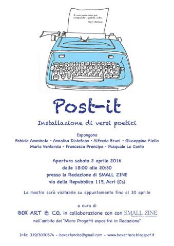 """""""Post-it"""", installazione di versi poetici ad Acri (CS)"""