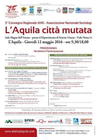 """""""L'Aquila città mutata"""", 5° Convegno regionale ANS"""