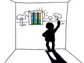vignetta di Vauro con un uomo in cella che disegna la parete