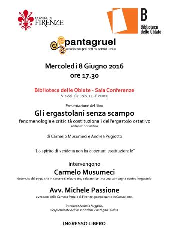 """Carmelo Musumeci presenta """"Gli ergastolani senza scampo"""" a Firenze"""