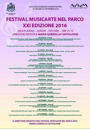 """Il festival """"Musicarte nel parco 2016"""" a Pescara"""