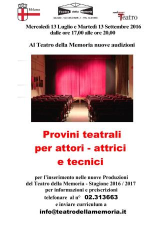 Audizioni al Teatro della Memoria di Milano