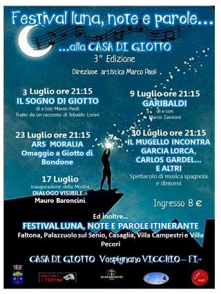 """Ultima sera del Festival """"Luna, Note e Parole …. alla casa di Giotto"""""""