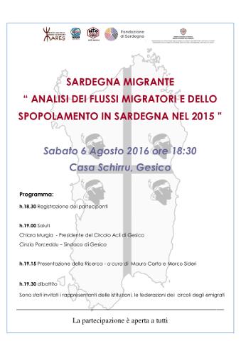 """Sabato a Gesico il Convegno """"Sardegna Migrante"""""""