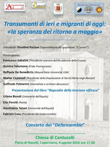 Incontro su transumanza ed emigrazione a Centurelli di Caporciano