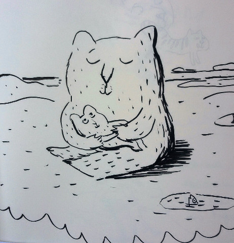 orsa con piccolo disegnata da magali le huche