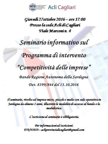 """Seminario a Cagliari sul bando regionale """"Competitività delle imprese"""""""