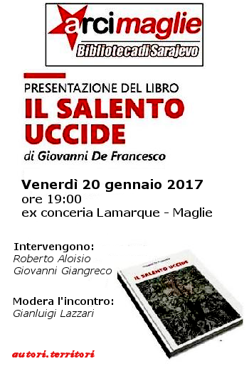 """Giovanni De Francesco presenta il suo libro """"Il Salento uccide"""" a Maglie"""