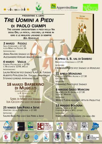 """Presentazione di """"Tre uomini a piedi"""" di Paolo Ciampi a Barberino"""