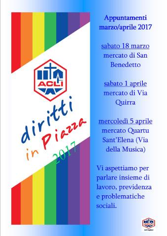 """Al via la campagna """"Diritti in piazza 2017"""" delle Acli Cagliari"""