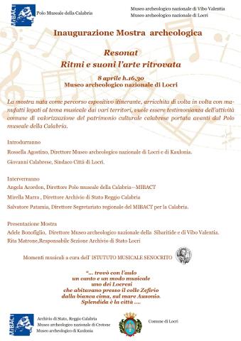 """Con """"ReSÒNAnT"""" a Locri in mostra ritmi e suoni dell'Arte ritrovata"""