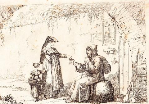 Donna ed eremita in un disegno di Pinelli